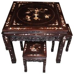 Chinese Antique Hardwood Table and Stool Dining Set Mother-of-Pearl Inlay
