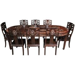 Antique Chinese Hardwood Dining Set Table and Eight Chairs Mother-of-Pearl Inlay