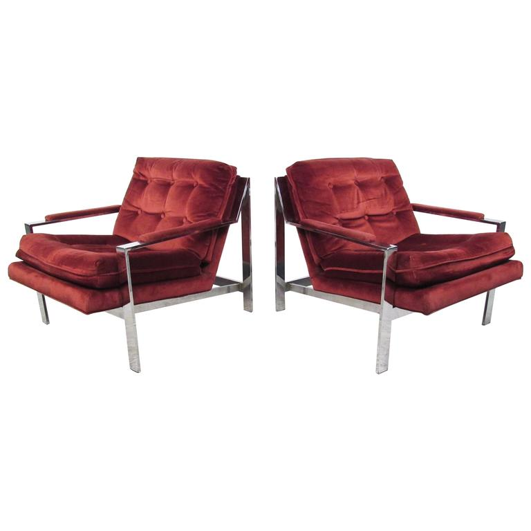 Pair Cy Mann Style Chrome Lounge Chairs