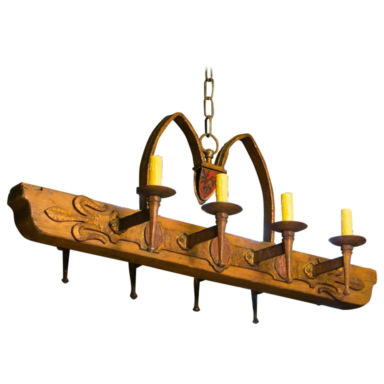 One of a Kind Rustic Wood and Iron Spanish Chandelier, circa 1940 1