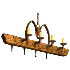 One of a Kind Rustic Wood and Iron Spanish Chandelier, circa 1940