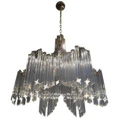 Gorgeous Mid-Century Italian Glass Six-Arm Chandelier by Camer