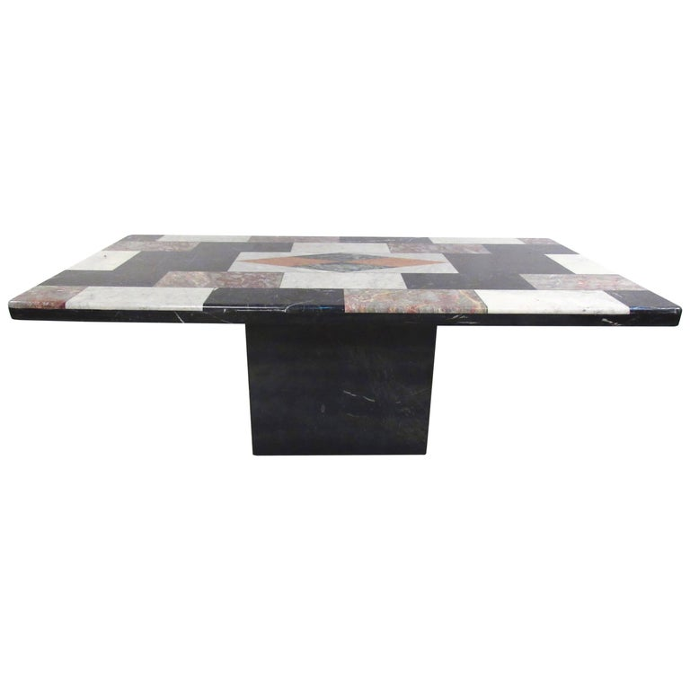 Vintage Italian Marble Top Pedestal Table For Sale