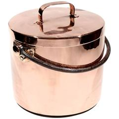 English Large Copper Kitchen Cooking Stock Pot, 19th Century