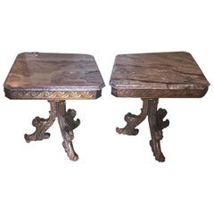 Pair Marble-Top End Tables Supported By Tri Pedestal Base Distress Gilt Finish
