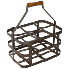 Turn-of-the-Century Metal Bottle Carrier, France, circa 1900