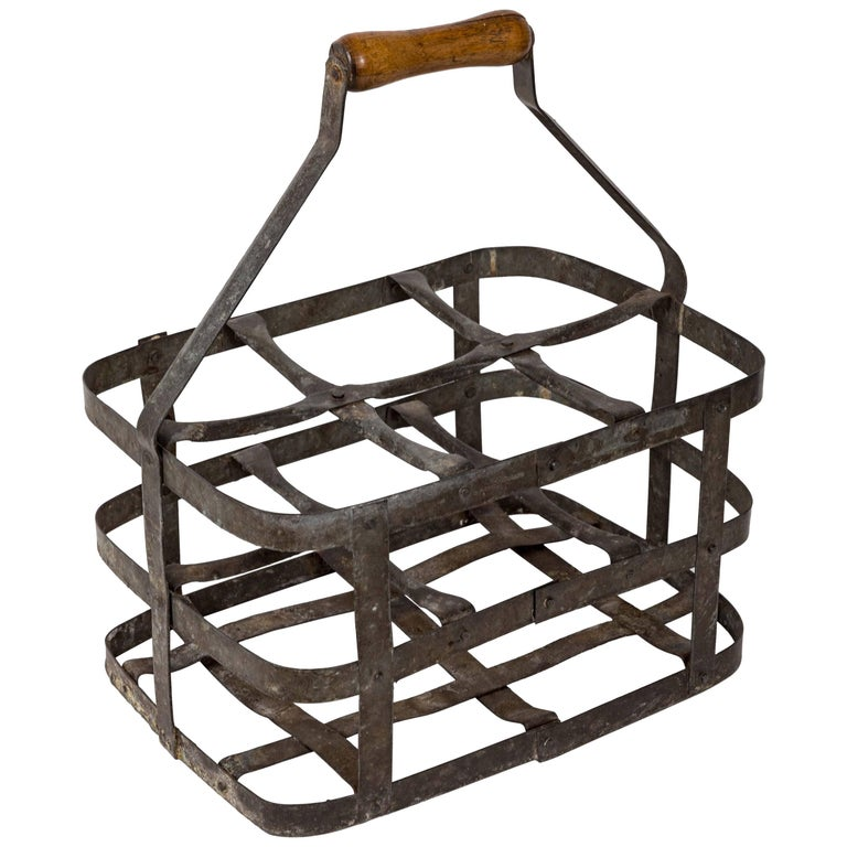 Turn-of-the-Century Metal Bottle Carrier, France, circa 1900 For Sale