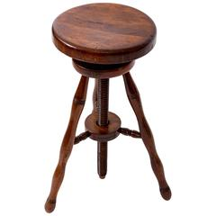 Turn-of-the-Century Beechwood Swivel Stool, France, circa 1900