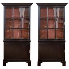 Pair of 18th Century Georgian Ebonized Bookcases, England, circa 1780-1790