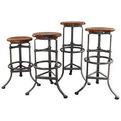 "Set of Four ""Rite Hite"" Automatic Adjustable Vintage Industrial Bar Stools"