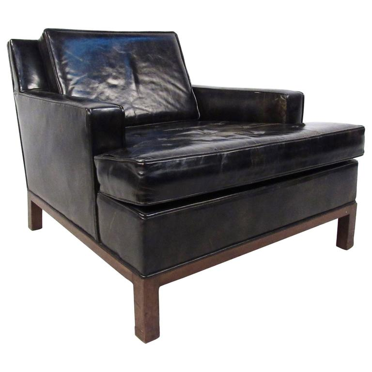 Mid century modern style leather club chair by harvey for Modern leather club chair