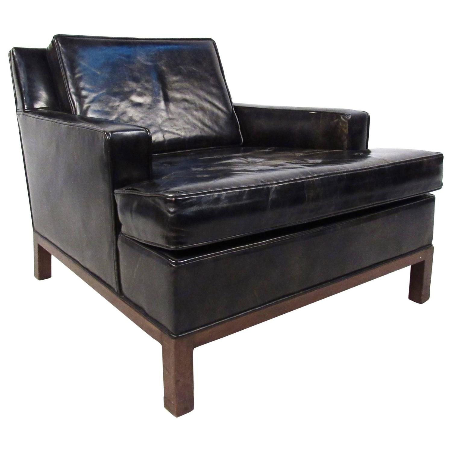 mid century modern style leather club chair by harvey probber for sale