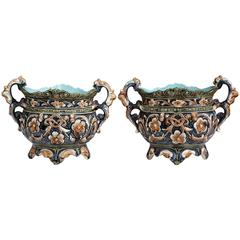 Pair of 19th Century French Hand-Painted Barbotine Cache Pots with Flower Motifs