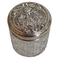 Art Nouveau Sterling Lidded Glass Vanity Jar