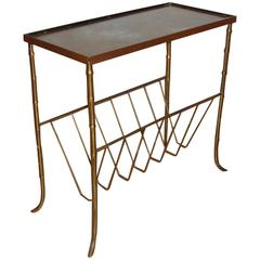 Bagues Style Bronze Bamboo Magazine Table with Gilt Mirrored Top