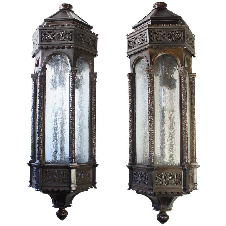 Commercial Bronze Exterior Sconces By Horn And Brannen At 1stdibs