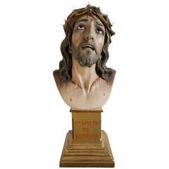 Antique Religious Plaster Bust