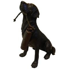 Bronze Dog Holding a Buoy Inscribed Remington, 20th Century