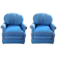 Pair of Upholstered Club Chairs, 20th Century