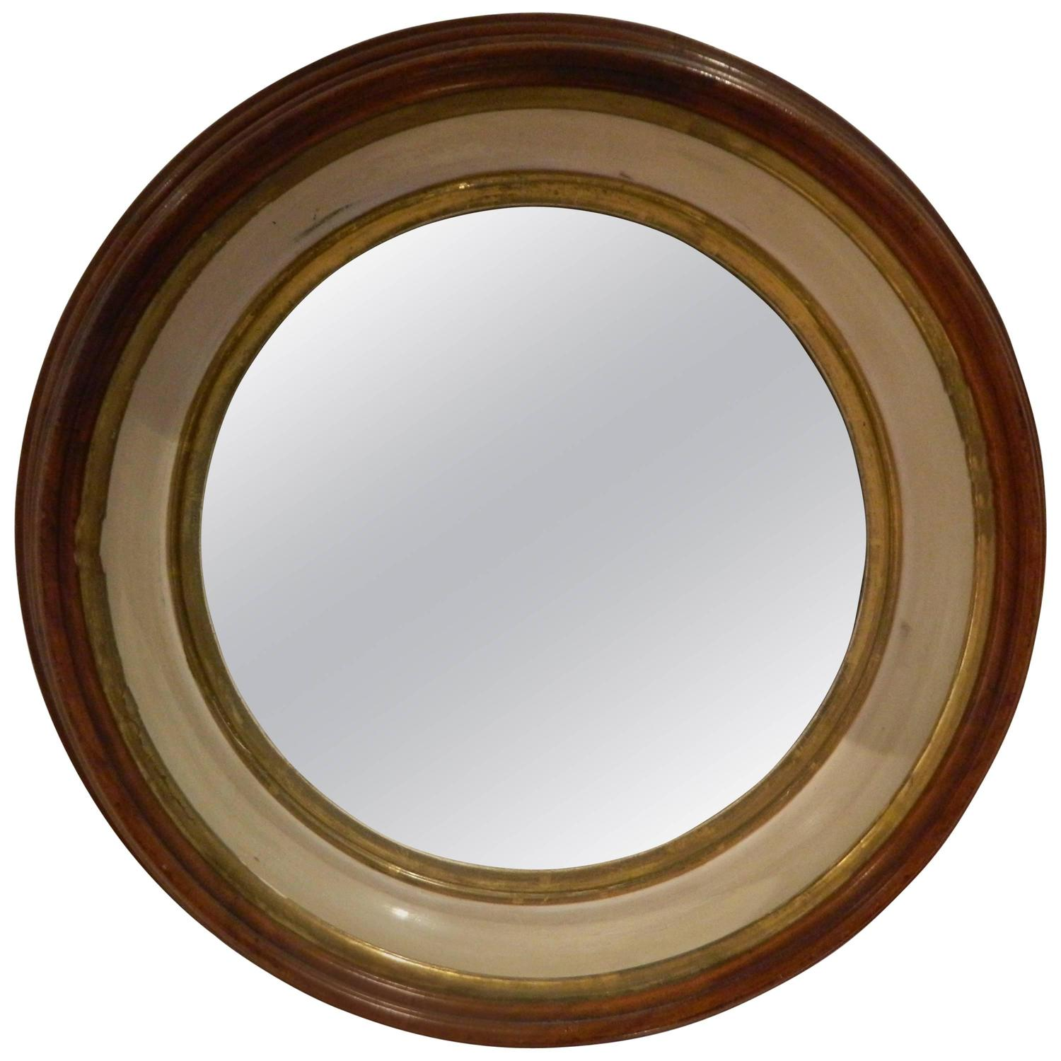 Nautical Style Wood Round Mirror Late 19th Early 20th