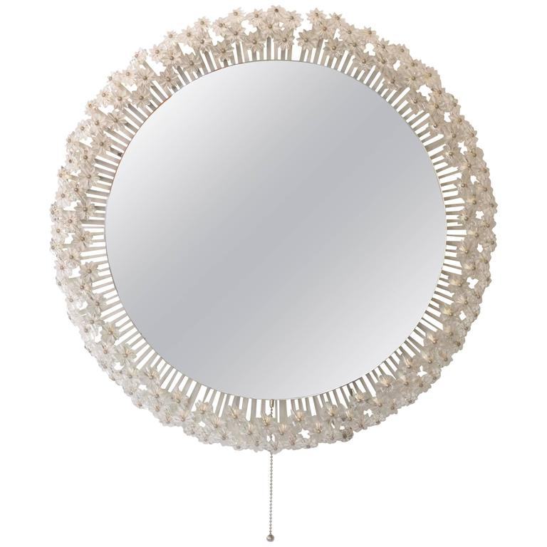 Viennese Backlight Wall Mirror by Emil Stejnar with Glass Blossoms, 1950s