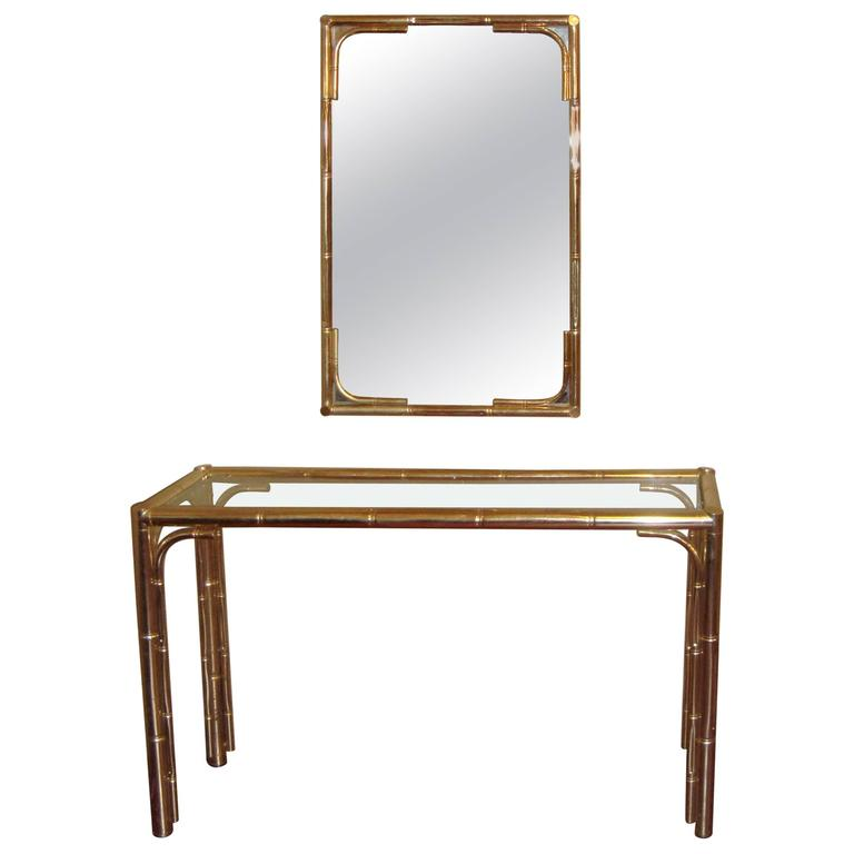 Bagues Style Bamboo Mirror and Console Table