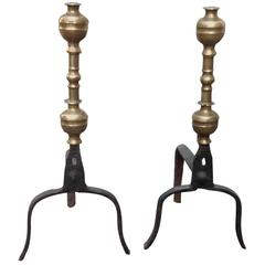 Good Pair of 17th Century Bronze and Iron Andirons