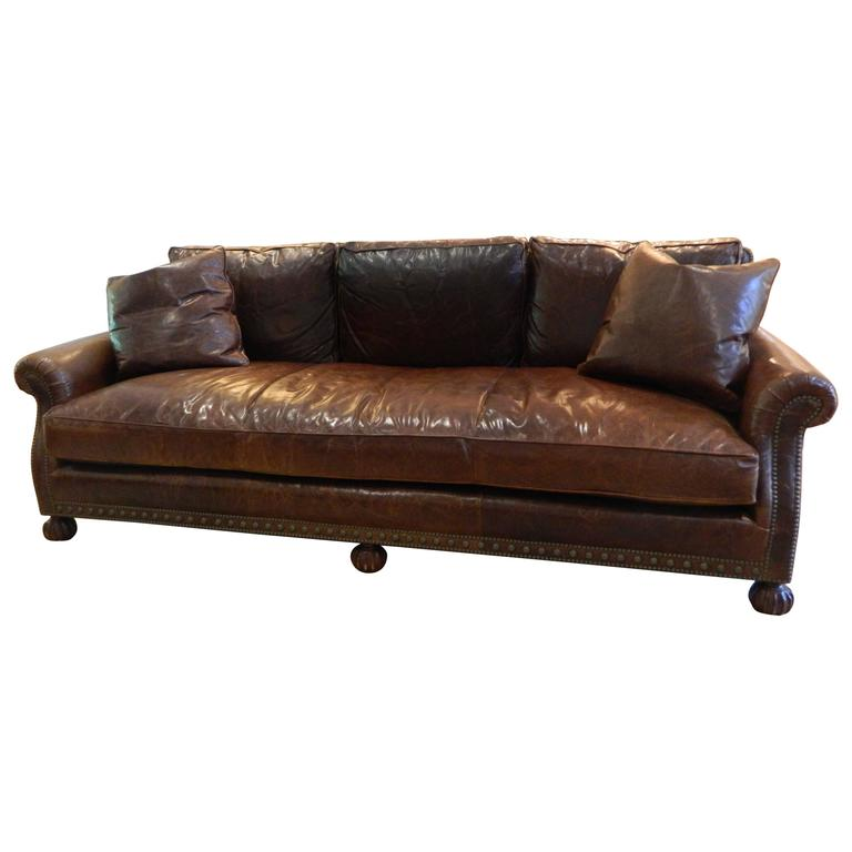 Ralph lauren leather sofa with nailhead treatment 20th How to treat leather furniture