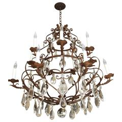 Grand Fourteen-Light Iron and Crystal Chandelier