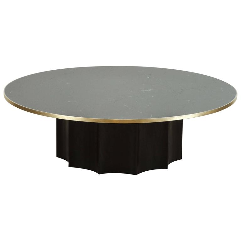 Black Marble And Ebonized Oak Normandie Cocktail Table By Lawson Fenning 1