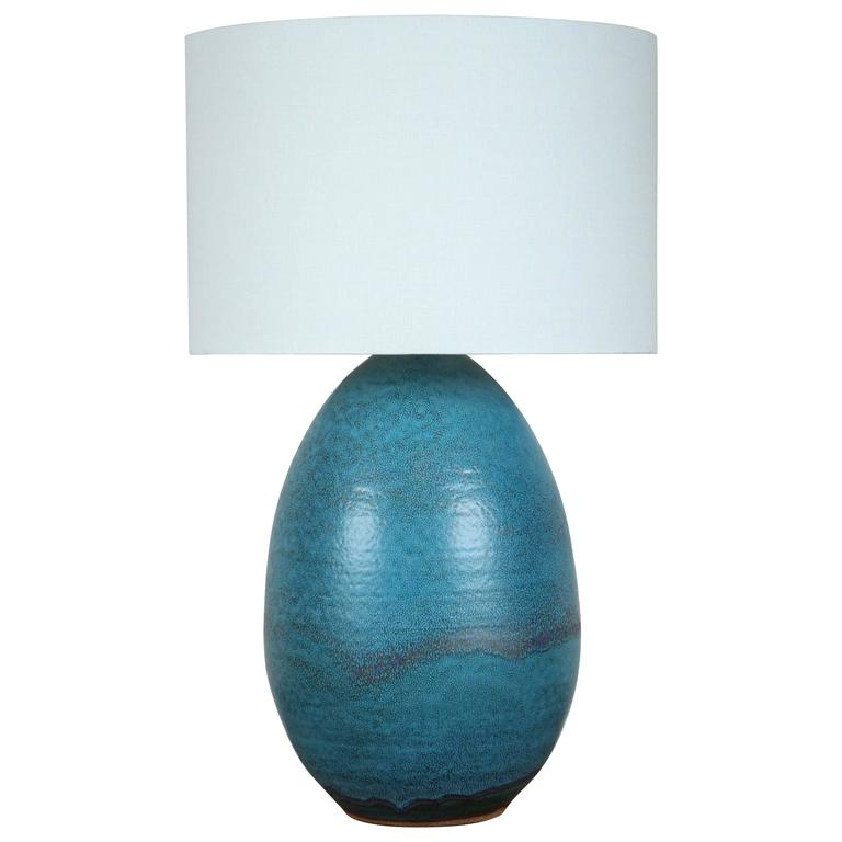 Extra Large Ceramic Pod Lamp in Turquoise by Victoria Morris