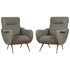 Pair of Italian Lounge Chairs Upholstered in Wool Houndstooth