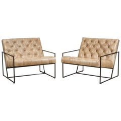 Pair of Tufted Thin Frame Lounge Chair by Lawson-Fenning