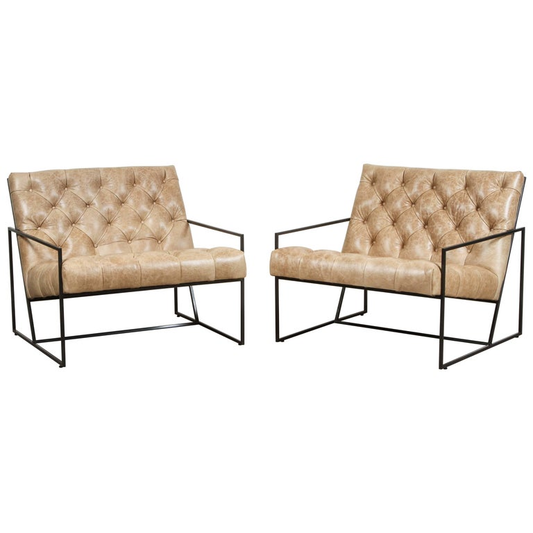 Pair of Tufted Thin Frame Lounge Chair by Lawson-Fenning For Sale