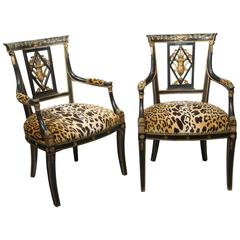 "Superb Pair of Regency Armchairs with Scalamandre ""Leopard"""
