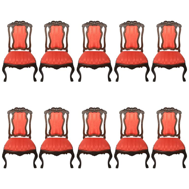Rare and Important Set of Ten Portuguese Dining Chairs