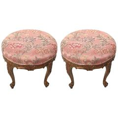 Pair of Parcel-Gilt Louis XV Stools