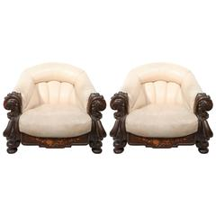 "Outstanding Pair of Belle Époque Marquetry and Leather ""Gentlemen's"" Chairs"