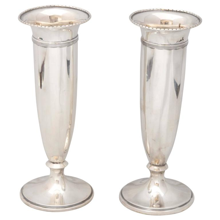 Pair of Edwardian Sterling Silver Vases