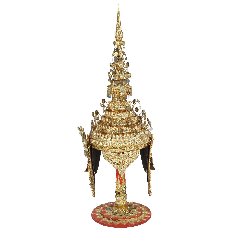 gilt ceremonial thai headdress on stand at 1stdibs