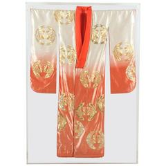 Japanese Ceremonial Kimono Framed in a Lucite Box