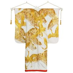 Vintage Collectable Japanese White and Gold Silk Ceremonial Kimono