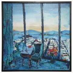 Original Oil Painting of Pacific Palisades Golden Gate Bridge