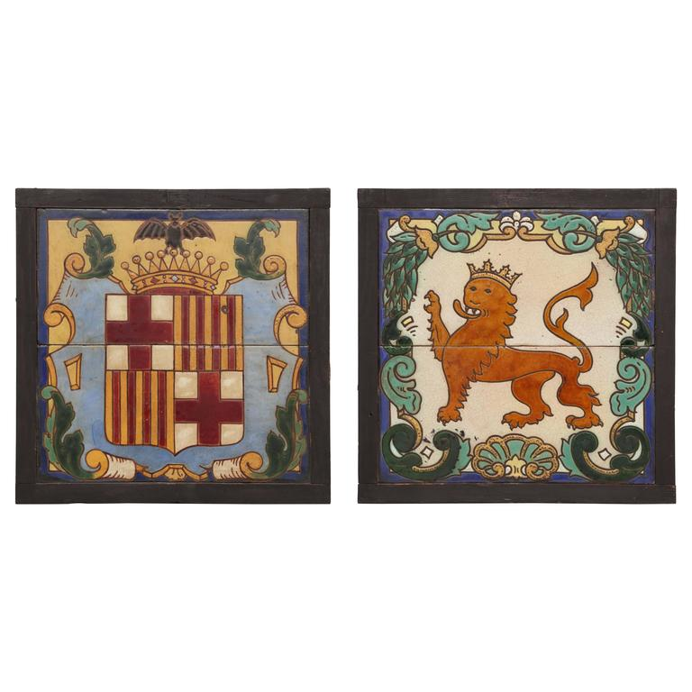 Pair of Framed Antique Armorial Crest Tiles
