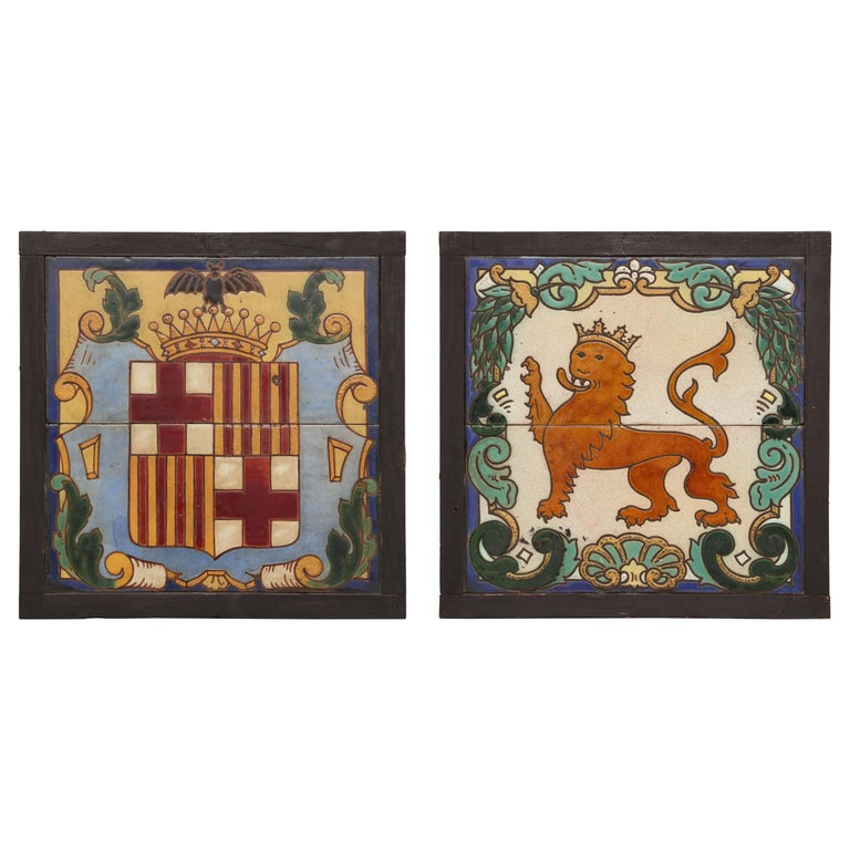 Pair of Framed Antique Armorial Crest Tiles For Sale