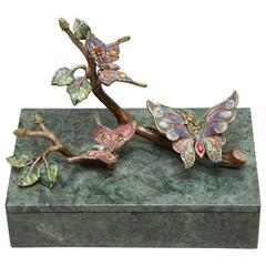 Marble and Enamel Butterfly Box by Jay Strongwater