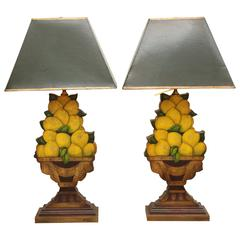 Pair of Carved Wood and Decoupage Lemon Topiary Lamps