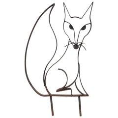 Mid-Century Iron Fox Sculpture