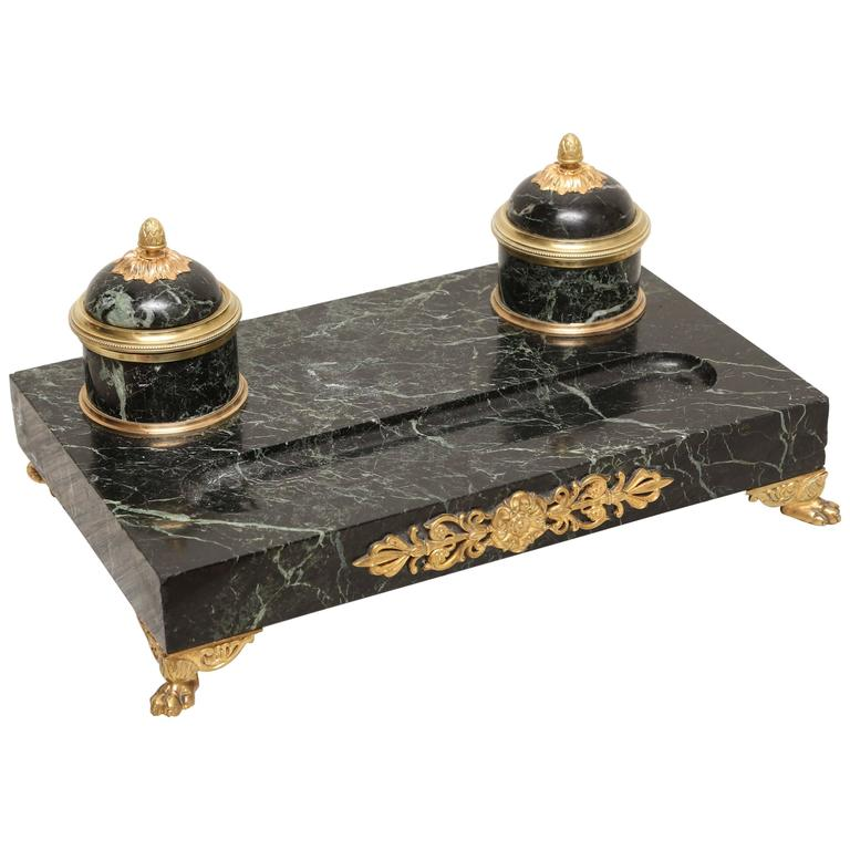 19th Century Napoleonic Marble and Doré Bronze Inkwell