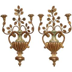Pair of Palladio Giltwood and Metal Urn Shape Sconces
